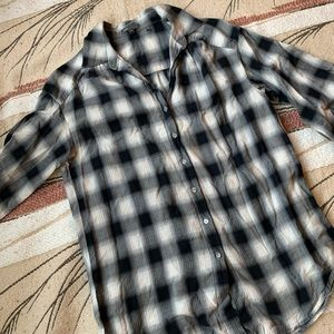 VINCE plaid blouse